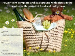 Powerpoint Template And Background With Picnic In The Meadow With Basket Of Food And Teddy Bear