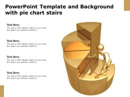 Powerpoint Template And Background With Pie Chart Stairs