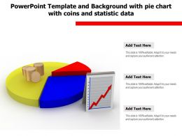Powerpoint Template And Background With Pie Chart With Coins And Statistic Data