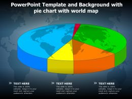 Powerpoint Template And Background With Pie Chart With World Map
