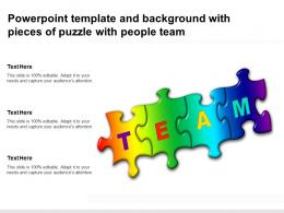 Powerpoint Template And Background With Pieces Of Puzzle With People Team