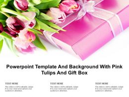 Powerpoint Template And Background With Pink Tulips And Gift Box