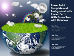 Powerpoint Template And Background With Planet Earth With Green Tree With Rainbow