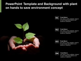Powerpoint Template And Background With Plant On Hands To Save Environment Concept