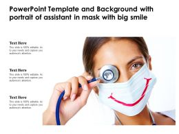 Powerpoint Template And Background With Portrait Of Assistant In Mask With Big Smile