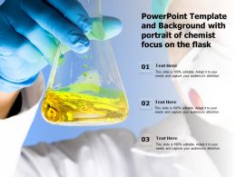 Powerpoint Template And Background With Portrait Of Chemist Focus On The Flask