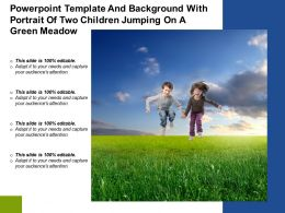 Powerpoint Template And Background With Portrait Of Two Children Jumping On A Green Meadow