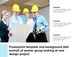Powerpoint Template And Background With Portrait Of Worker Group Looking At New Design Project