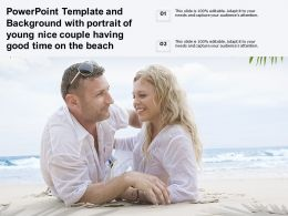 Powerpoint Template And Background With Portrait Of Young Nice Couple Having Good Time On Beach