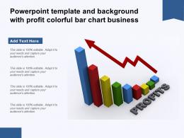 Powerpoint Template And Background With Profit Colorful Bar Chart Business