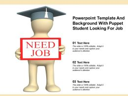 Powerpoint Template And Background With Puppet Student Looking For Job
