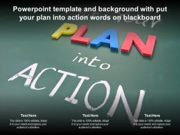 Powerpoint Template And Background With Put Your Plan Into Action Words On Blackboard