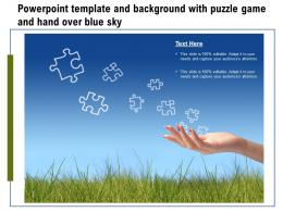 Powerpoint Template And Background With Puzzle Game And Hand Over Blue Sky