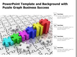 Powerpoint Template And Background With Puzzle Graph Business Success