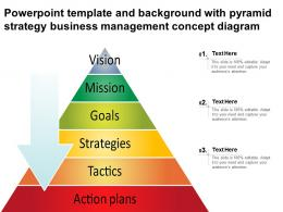 Powerpoint Template And Background With Pyramid Strategy Business Management Concept Diagram
