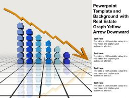 Powerpoint Template And Background With Real Estate Graph Yellow Arrow Downward