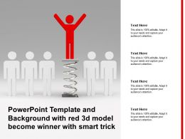 Powerpoint Template And Background With Red 3d Model Become Winner With Smart Trick