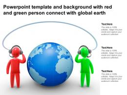 Powerpoint Template And Background With Red And Green Person Connect With Global Earth