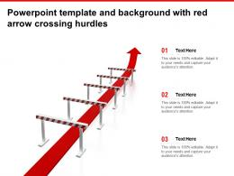 Powerpoint Template And Background With Red Arrow Crossing Hurdles