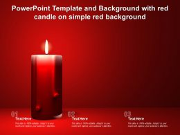 Powerpoint Template And Background With Red Candle On Simple Red Background