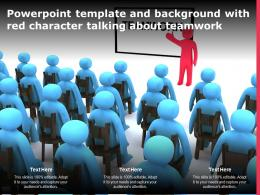 Powerpoint Template And Background With Red Character Talking About Teamwork