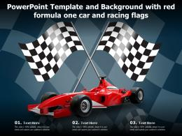 Powerpoint Template And Background With Red Formula One Car And Racing Flags