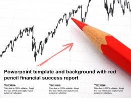 Powerpoint Template And Background With Red Pencil Financial Success Report