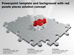 Powerpoint Template And Background With Red Puzzle Pieces Solution Concept