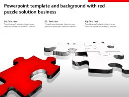 Powerpoint Template And Background With Red Puzzle Solution Business
