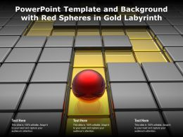 Powerpoint Template And Background With Red Spheres In Gold Labyrinth