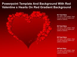 Powerpoint Template And Background With Red Valentine S Hearts On Red Gradient