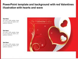 Powerpoint Template And Background With Red Valentines Illustration With Hearts And Wave