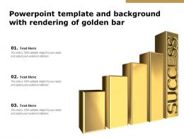 Powerpoint Template And Background With Rendering Of Golden Bar
