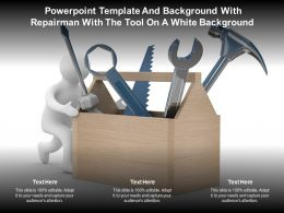 Powerpoint Template And Background With Repairman With The Tool On A White Background