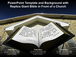 Powerpoint Template And Background With Replica Giant Bible In Front Of A Church