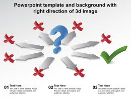Powerpoint Template And Background With Right Direction Of 3d Image