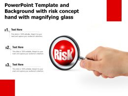 Powerpoint Template And Background With Risk Concept Hand With Magnifying Glass