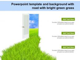 Powerpoint Template And Background With Road With Bright Green Grass