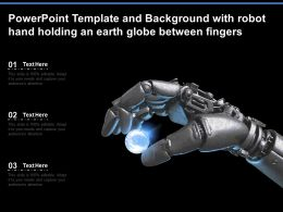 Powerpoint Template And Background With Robot Hand Holding An Earth Globe Between Fingers