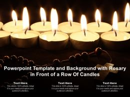 Powerpoint Template And Background With Rosary In Front Of A Row Of Candles