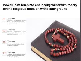 Powerpoint Template And Background With Rosary Over A Religious Book On White Background