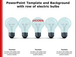 Powerpoint Template And Background With Row Of Electric Bulbs