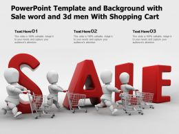 Powerpoint Template And Background With Sale Word And 3d Men With Shopping Cart