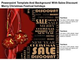 Powerpoint Template And Background With Sales Discount Merry Christmas Festival Holidays