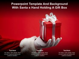 Powerpoint Template And Background With Santa S Hand Holding A Gift Box