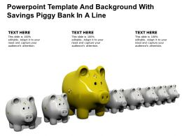 Powerpoint Template And Background With Savings Piggy Bank In A Line