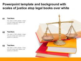 Powerpoint Template And Background With Scales Of Justice Atop Legal Books Over White
