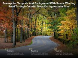 Powerpoint Template And Background With Scenic Winding Road Through Colorful Trees During Autumn Time