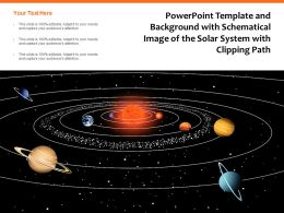Powerpoint Template And Background With Schematical Image Of The Solar System With Clipping Path