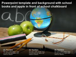 Powerpoint Template And Background With School Books And Apple In Front Of School Chalkboard